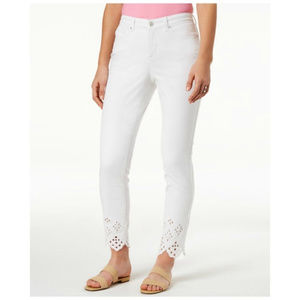 Charter Club White Wash Jeans Ankle Skinny Eyelet
